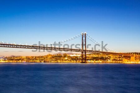 Lisbona ponte Portogallo cityscape 25 blu Foto d'archivio © vichie81