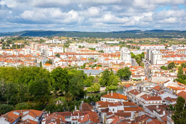 Oude binnenstad Portugal luchtfoto zomer kerk reizen Stockfoto © vichie81