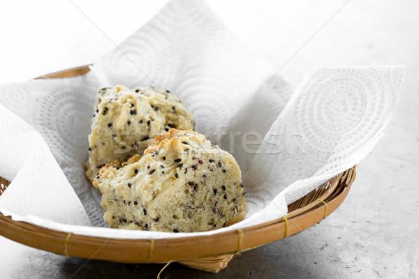 Pão gergelim fresco peça saúde ouro Foto stock © vichie81