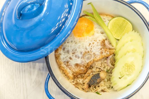 Sült rizs makréla hal tyúk piros Stock fotó © vichie81