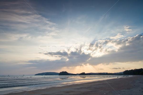 Gün batımı plaj güzel ışık bulut krabi Stok fotoğraf © vichie81