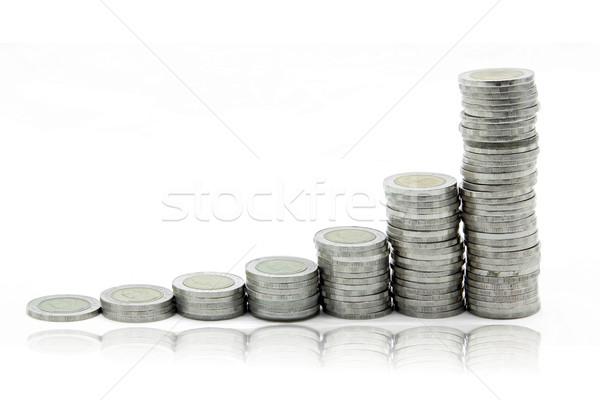 Scale abbondanza passo soldi monete isolato Foto d'archivio © vichie81