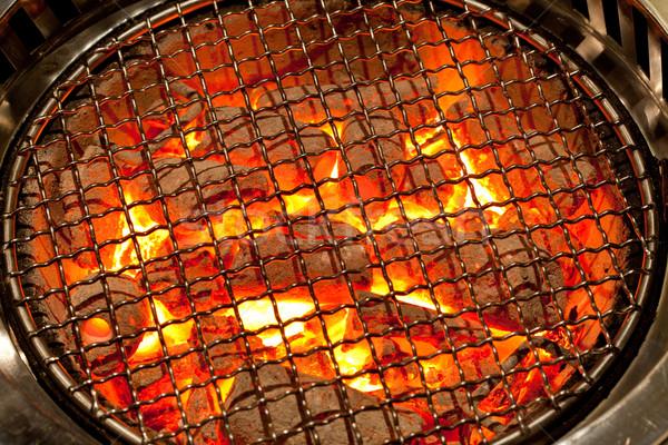 Carvão vegetal grelha prato cozinha preparação textura Foto stock © vichie81