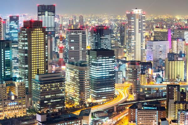 Osaka ufuk çizgisi gökdelen Bina gece Japonya Stok fotoğraf © vichie81