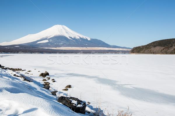 Mount Fuji meer winter sneeuw berg Stockfoto © vichie81