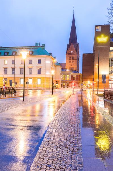 Cityscape центра ночь сумерки воды город Сток-фото © vichie81