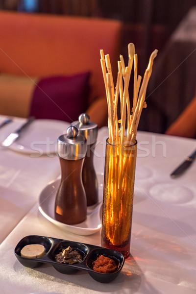 Brood stick voorgerechten franse keuken voedsel tabel Stockfoto © vichie81