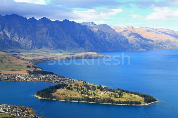 Foto stock: Nova · Zelândia · lago · topo · meio-dia · céu