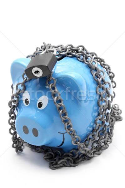 Zárolt persely lánc lakat fehér pénz Stock fotó © vichie81