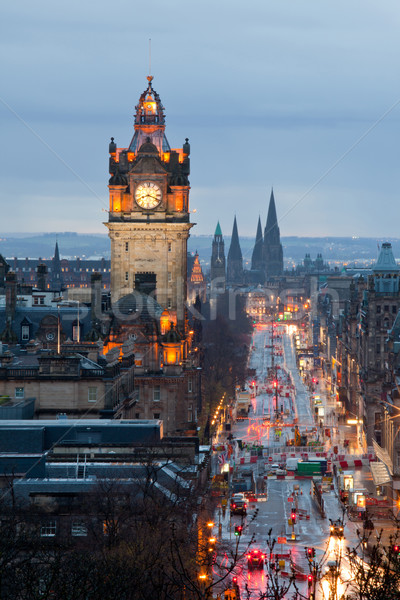 Edinburgh Clock Tower Scotland Dusk Stock photo © vichie81