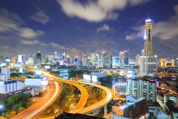 Bangkok karayolu şehir merkezinde iş bulutlar Stok fotoğraf © vichie81