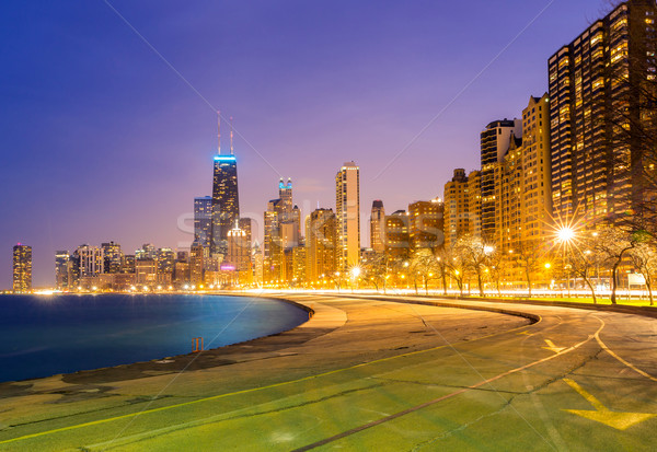 Foto stock: Chicago · crepúsculo · centro · da · cidade · lago · Michigan · edifício