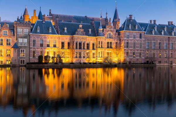 Parlamento palacio lugar Países Bajos anochecer lago Foto stock © vichie81