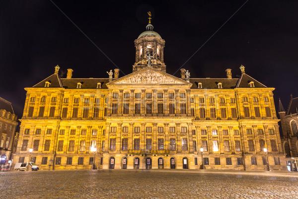 Stok fotoğraf: Amsterdam · kraliyet · saray · gece · Hollanda · seyahat