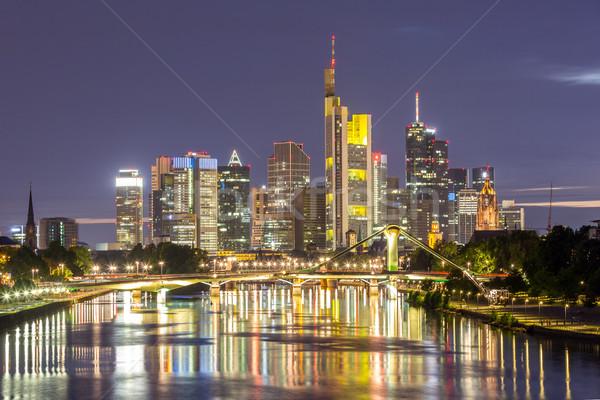 Németország Frankfurt sziluett délelőtt fő- naplemente Stock fotó © vichie81