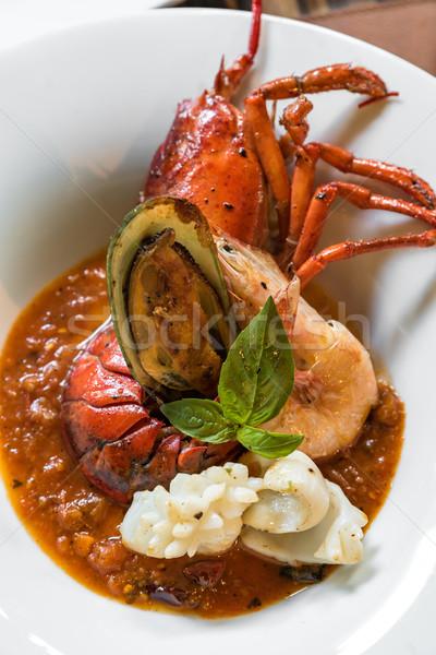 Grillowany homara restauracji cytryny powłoki zwierząt Zdjęcia stock © vichie81