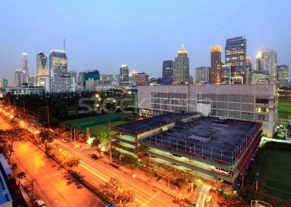 Landschap wolkenkrabber Bangkok zakenwijk hemel water Stockfoto © vichie81