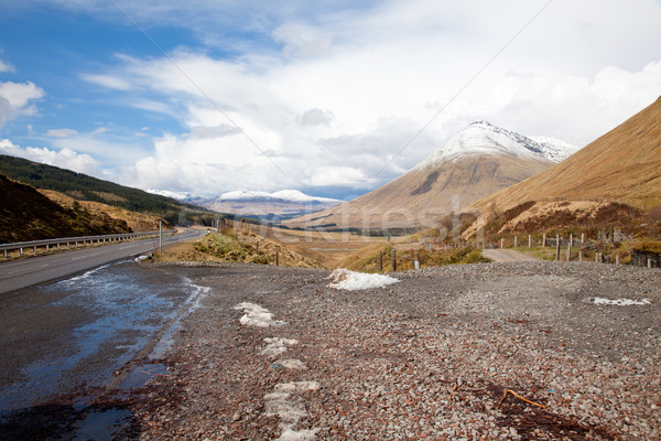 Escocia paisaje carretera naturaleza nieve Foto stock © vichie81