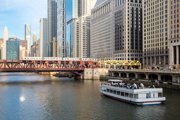 Chicago downtown and River Stock photo © vichie81