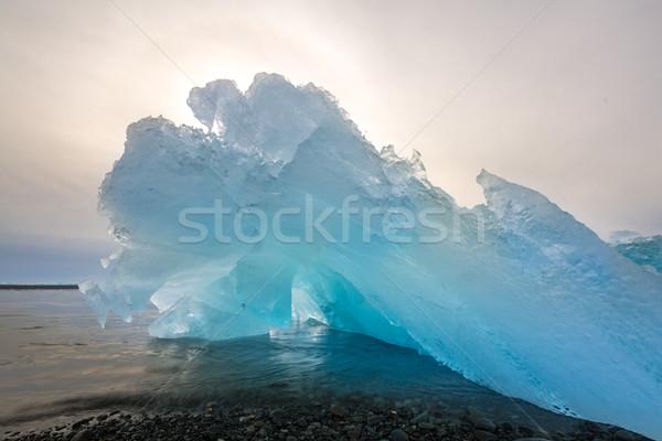 Iceberg spiaggia Islanda sunrise ghiaccio blu Foto d'archivio © vichie81