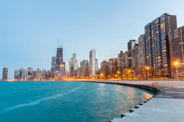 Chicago alkonyat belváros tó Michigan iroda Stock fotó © vichie81