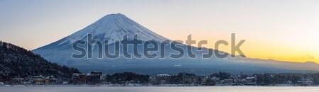 Fuji berg meer zonsopgang winter panoramisch Stockfoto © vichie81