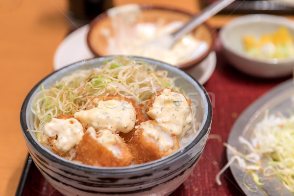 Comida japonesa profundo frito camarão conjunto arroz Foto stock © vichie81