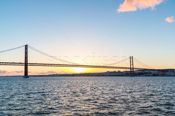 リスボン 橋 夕暮れ 景観 25 吊り橋 ストックフォト © vichie81