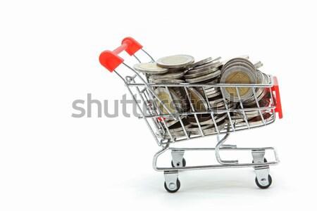 Isolato carrello completo abbondanza monete Foto d'archivio © vichie81