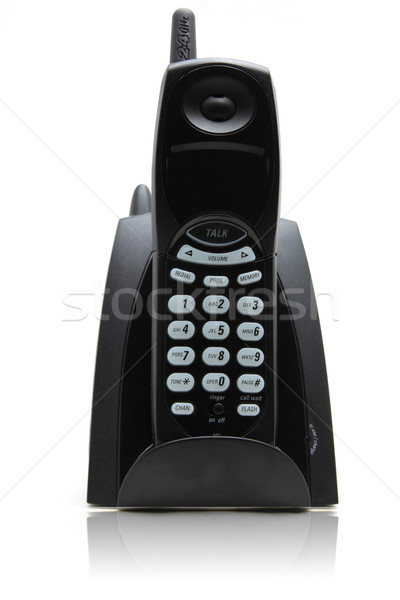 isolated black cordless phone on white with its reflection Stock photo © vichie81