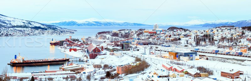 Panorama of Mining sit and freight ship Stock photo © vichie81