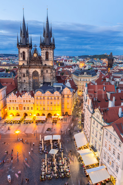 Praga cidade velha praça crepúsculo República Checa edifício Foto stock © vichie81