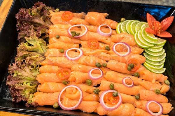Wędzony łosoś bufet line żywności cytryny świeże Zdjęcia stock © vichie81