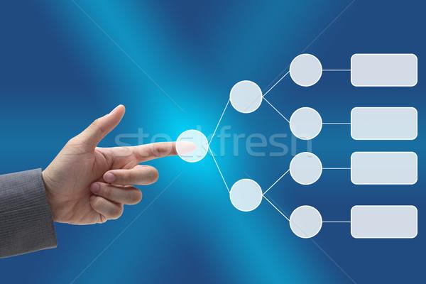 üzlet döntés diagram férfi kéz lökés Stock fotó © vichie81