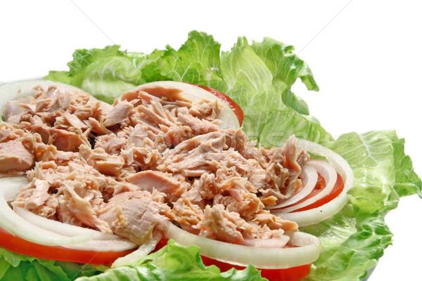Sałatka z tuńczyka przygotowanie tajska pikantny tuńczyka zielone Zdjęcia stock © vichie81