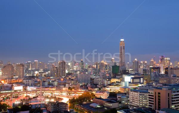 Bangkok gebouw luchtfoto centrum hemel water Stockfoto © vichie81