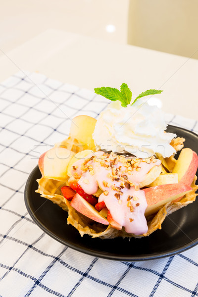 ice-cream sundae with tropical fruit Stock photo © vichie81