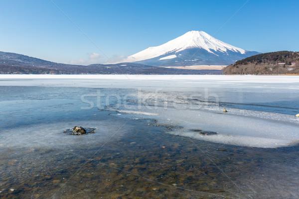 Monte Fuji ghiacciato lago inverno neve montagna Foto d'archivio © vichie81