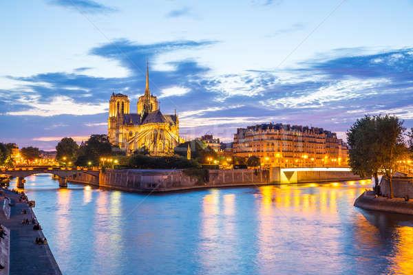 Notre Dame Cathedral Paris dusk Stock photo © vichie81