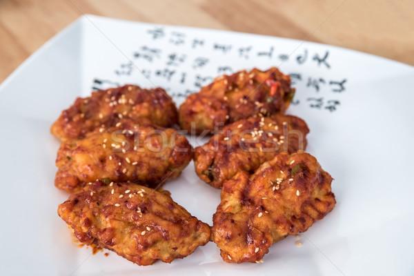 épicé sésame plaque poulet dîner Photo stock © vichie81