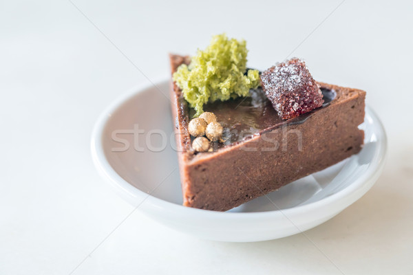 Chocolate tarta mini blanco plato placa Foto stock © vichie81