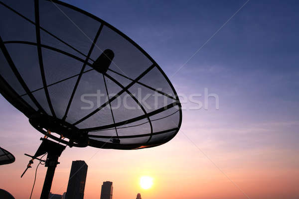 Antenne communication noir coucher du soleil ciel Photo stock © vichie81