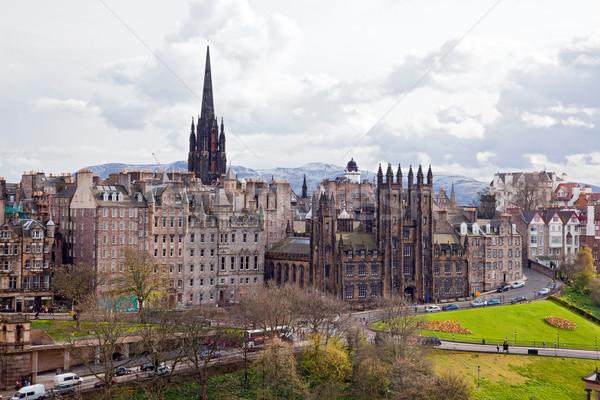Edinburgh városkép Skócia város naplemente templom Stock fotó © vichie81