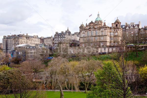 Edinburgh sziluett Skócia kert város naplemente Stock fotó © vichie81