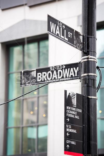 Wall Street broadway signe New York argent ville Photo stock © vichie81