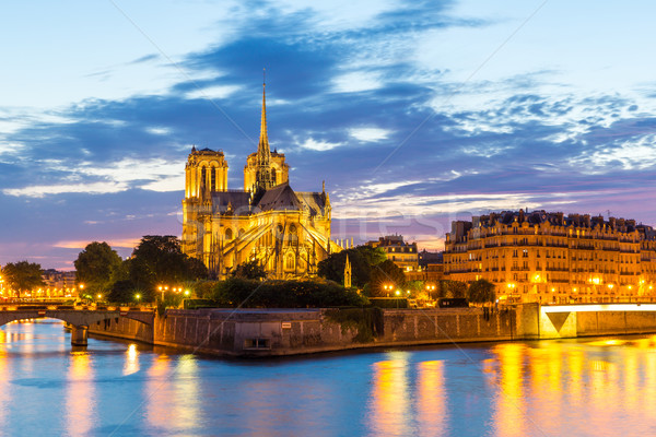 Сток-фото: Собор · Нотр-Дам · Париж · сумерки · Cityscape · реке · Франция