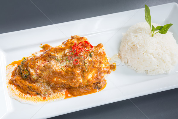 Foto stock: Vermelho · caril · frango · arroz · filé · jantar