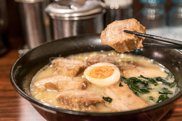 Ramen japán tészta pörkölt disznóhús főzés Stock fotó © vichie81