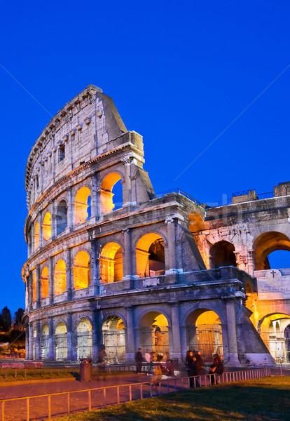 Колизей Рим Италия ночь сумерки Сток-фото © vichie81