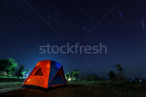 spiral star trail with campsite Stock photo © vichie81